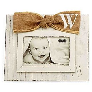 Mud Pie Planked Monogram Bow Frame, W