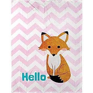 "Manual Hello Fox Lightweight Pink Chevron Dyed Plush Fleece Baby Nursery Blanket Throw - SAHFOX - 30x40"""