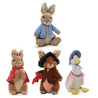 Gund Classic Beatrix Potter Plush Collection: Peter Rabbit, Flopsy Bunny, Benjamin Bunny And Jemima Puddle Duck