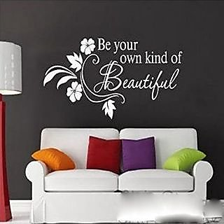 Witkey Be Your Own Kind Of Beautiful Flower Vine Wall Sticker Art Decor Decal Quote Decals DIY (white)