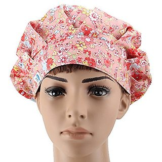 Guoer Womens Bouffant Scrub Caps One Size Petunia Tusya Yellow Flower