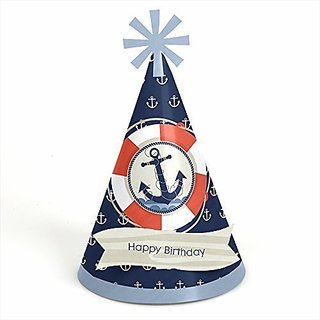 Ahoy - Nautical - Cone Birthday Party Hats - 8 Count