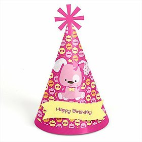 Girl Puppy Dog - Cone Birthday Party Hats - 8 Count