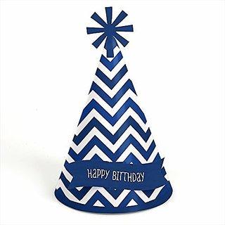Chevron Navy - Cone Birthday Party Hats - 8 Count