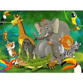 Jungle animals photo wall paper - jungle and animals mural - XXL jungle wall decoration nursery 55 Inch x 39.4 Inch