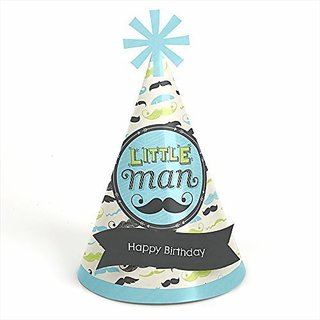 Dashing Little Man Cone Birthday Party Hats 8 Count