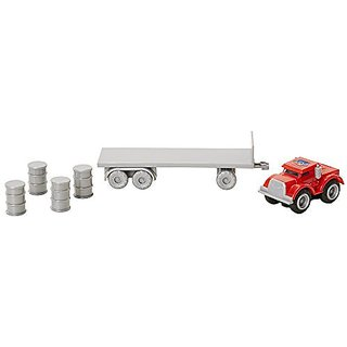 Max Tow Truck 87230 Mini Haulers Red Semi Truck with Barrels Vehicle