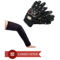 Combo Of Universal Arm Sleeve & Bike Riding Gloves - Black Size XL
