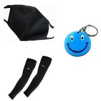 Combo Of Pollution Mask + Universal Size Arm Sleeves With Free Smiley Key Chain