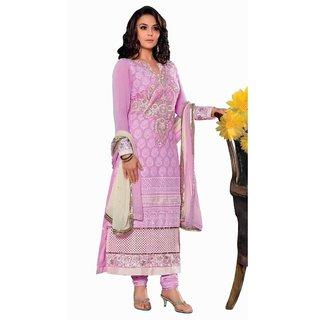 Triveni Preity Zinta's Enchanting Chikankari Worked Georgette Salwar Kameez (Unstitched)