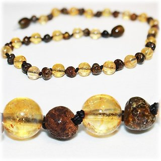 *The Art of CureTM *SAFETY KNOTTED* Rare GREEN Amber & CITRINE -(Unisex) Certified Baltic Amber Baby