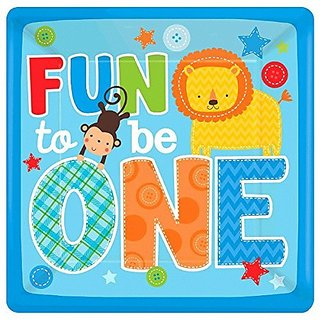 "Amscan One Wild Boy 1st Birthday Square Plates, 10"", Blue/Yellow/Orange/Red/Green"