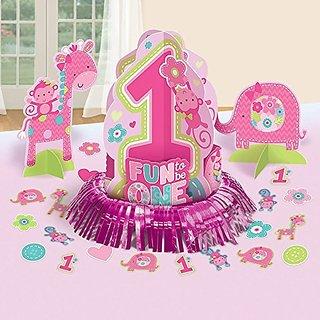 """One"" Wild Girl 1st Birthday Table Decorating Kit"