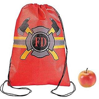 Firefighter Drawstring Backpacks - 12 ct