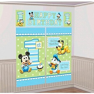 Amscan Disney Baby Mickey Mouse 1st Birthday Scene Setters Wall Decorating Kit Party Supplies, Large, Blue/Green