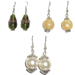 BEADWORKS - SINGLE BEAD EARRINGS (Set of 3 pair)