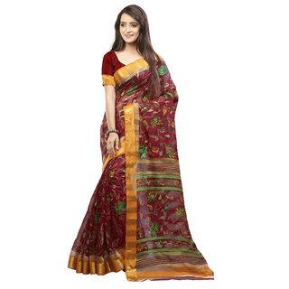 S V Inc Multicolor Cotton Printed Saree With Dori Blouse