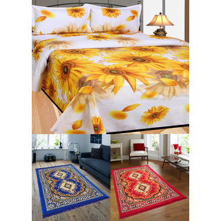 Azaani beautiful floral 2 jute carpets with 1 polycotton double bed sheet