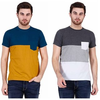 Combo of 2 Stylogue Men's Multicolor Round Neck T-shirt (Blue- Mustard & Grey -White)
