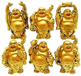 Feng Shui Golden Set Of Laughing Buddha 6 Pc Set