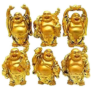 Feng Shui Golden Set Of Laughing Buddha 6 Pc Set