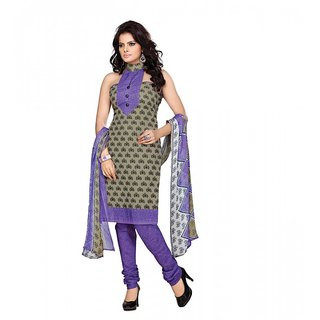Florence Beige And Purple Polycotton Printed Suit Dress Material (SB-10013) (Unstitched)