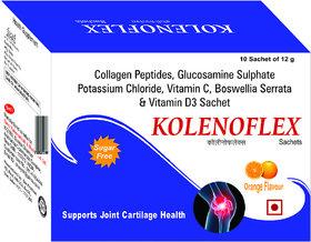 Kolenoflex w/ Collagen Peptides, Glucosamine, Boswellia Serrata  Vitamin D3 - 10 Sachets (Supports Joint Cartilage Heal