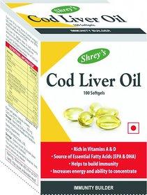 Shrey's Cod Liver Oil, Vitamins A  D - 100 Capsules (Immunity Booster)