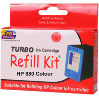 Turbo ink refill kit for HP 680 color ink cartridge