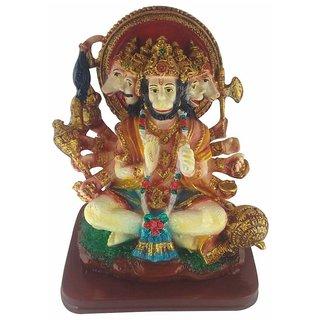 Galaxy World Combo of Textured Marble Panchamukhi Hanuman Idol