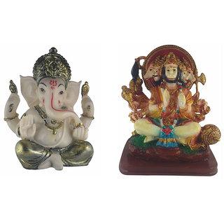 Galaxy World Combo of Textured Marble Lord Ganesha and Panchamukhi Hanuman Idol