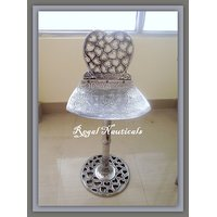 A Beautiful Chair In Iron With Silver Touch