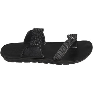 STYLE HEIGHT Men's Black Slippers