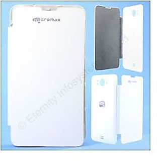 Micromax A111 Canvas Doodle Leather Flip Back Cover Replace Case (White)