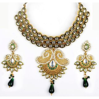 Amarsonns Jewels Green And Golden Necklace Set