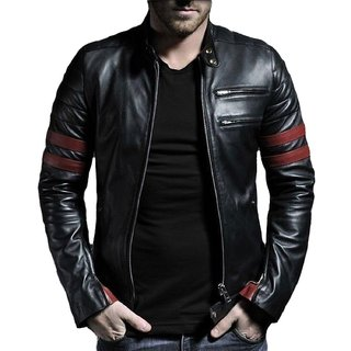 AlSamad Biker Leather Jacket For in Black Color Blazer For Men ...