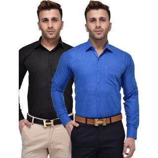 Hangup Regular Blue  Blue PolyCotton Shirt for Men Pack of 2