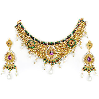 Amarsonns Jewels Green And Golden Necklace Set - 4712428