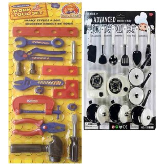 DDH Multicolor Work  Tool Set with Plastic advanced  Kitchen Play Set for kids