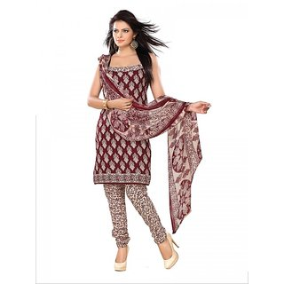 Florence Maroon Polycotton Printed Dress Material (SB-1547) (Unstitched)