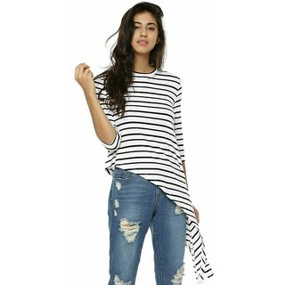 Raabta Black and White Strip Long Top with Full Sleeve