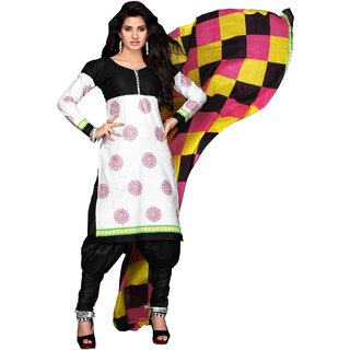 Florence White And Black Cotton Printed Dress Material (SB-2683) (Unstitched)