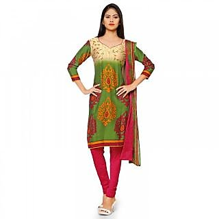 Florence Green Printed Crepe Salwar Suit Material (Unstitched)