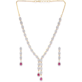 Zaveri Pearls Sophisticated Cubic Zirconia & Ruby Designer Necklace Set - ZPFK4377