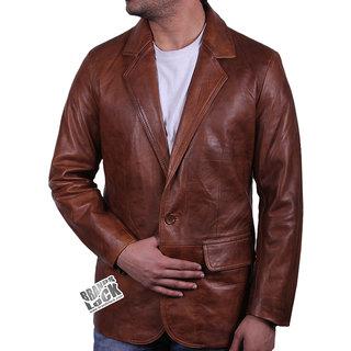 Cum in leather jacket