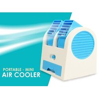 shopeleven Mini USB Fragrance Air Conditioner Cooling Fan Cooling Portable Desktop Dual Bladeless Air Cooler - Assorted Color