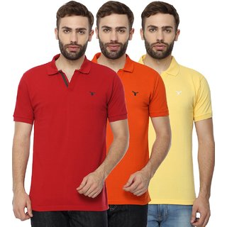 Youthen Men's Multicolor Polo Collar T-Shirt