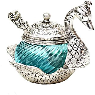 Rastogi Handicrafts White Metal Duck Bowl With Spoon Terquise Colour (15 cm x 11 cm x 11 cm)