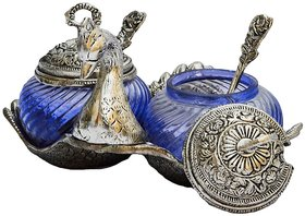 White Metal  Duck Double Bowl With Two Spoon Blue Colour