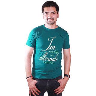 SAT Classic AlternateCharacter Slogan Half Sleeve Round Neck Dark Green T-shirt
